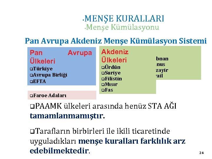 • MENŞE KURALLARI • Menşe Kümülasyonu Pan Avrupa Akdeniz Menşe Kümülasyon Sistemi Pan