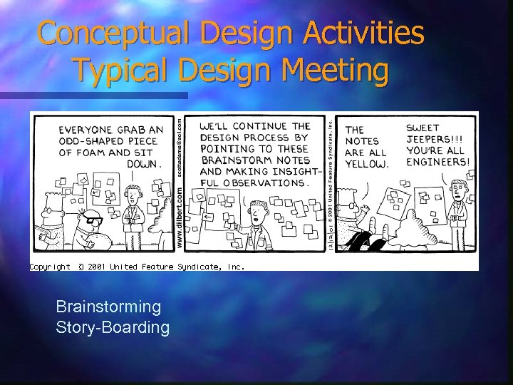 Conceptual Design Activities Typical Design Meeting Brainstorming Story-Boarding