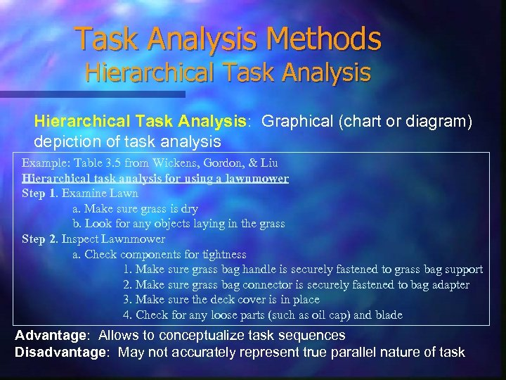 Task Analysis Methods Hierarchical Task Analysis: Graphical (chart or diagram) depiction of task analysis