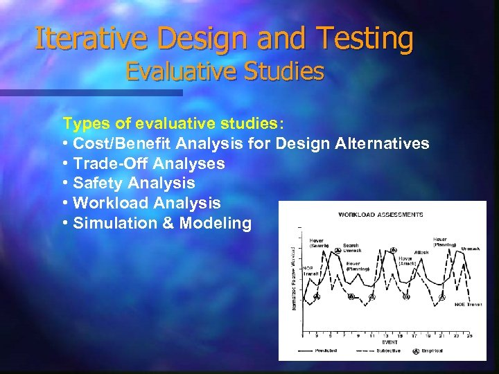 Iterative Design and Testing Evaluative Studies Types of evaluative studies: • Cost/Benefit Analysis for