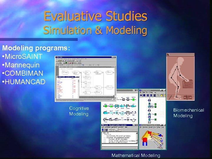 Evaluative Studies Simulation & Modeling programs: • Micro. SAINT • Mannequin • COMBIMAN •
