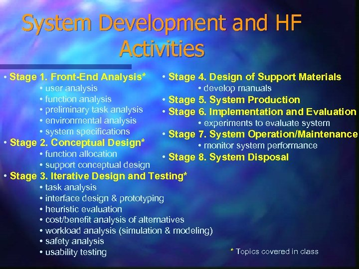 System Development and HF Activities • Stage 1. Front-End Analysis* • user analysis •