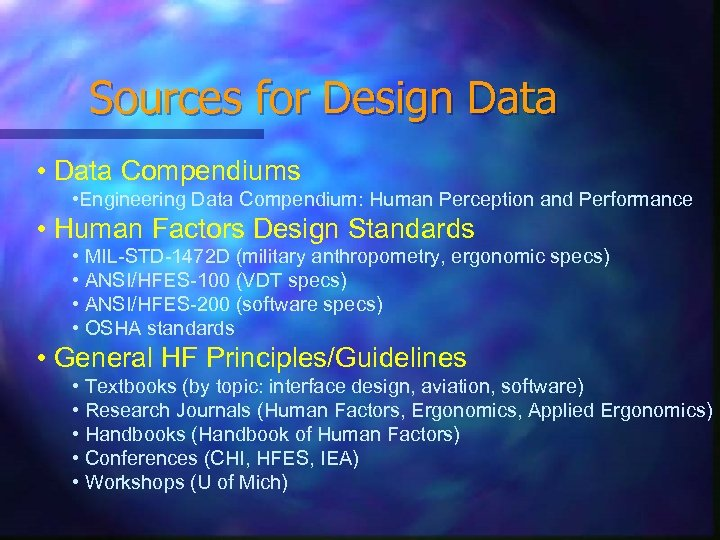 Sources for Design Data • Data Compendiums • Engineering Data Compendium: Human Perception and