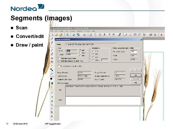 Segments (images) l l Convert/edit l 11 Scan Draw / paint 20 October 2010