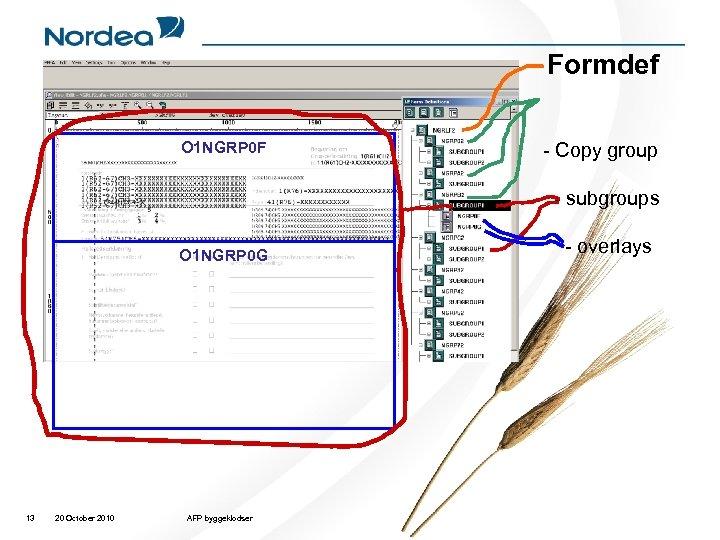 Formdef O 1 NGRP 0 F - Copy group - subgroups O 1 NGRP