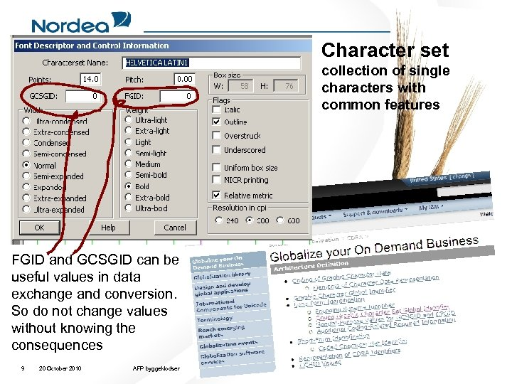Character set collection of single characters with common features FGID and GCSGID can be