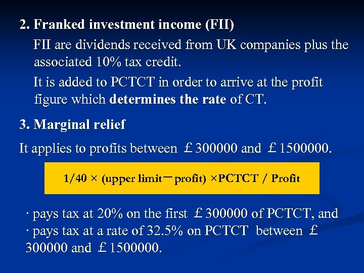 Franked investment income foreign dividends uk open forex positions