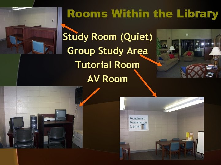 Rooms Within the Library Study Room (Quiet) Group Study Area Tutorial Room AV Room
