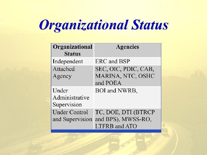 Organizational Status