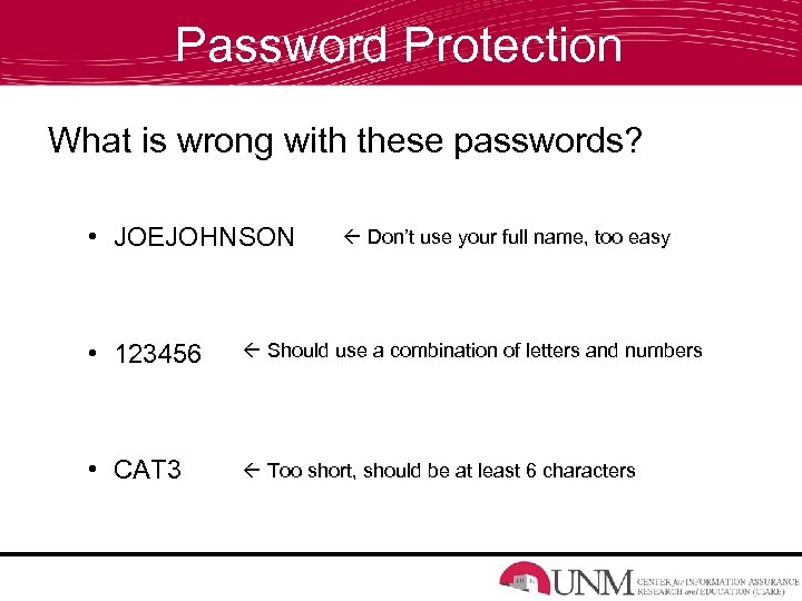 Password Protection What is wrong with these passwords? • JOEJOHNSON Don't use your full