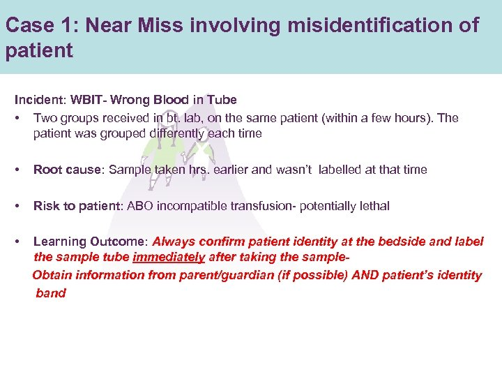 Case 1: Near Miss involving misidentification of patient Incident: WBIT- Wrong Blood in Tube