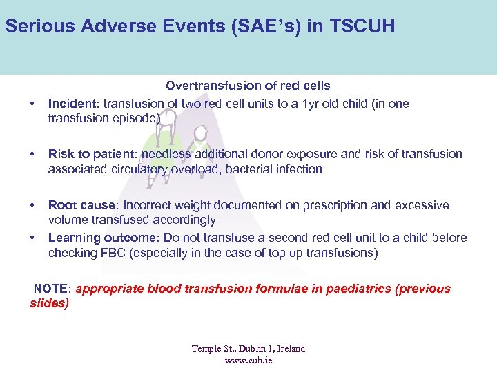 Serious Adverse Events (SAE's) in TSCUH • Overtransfusion of red cells Incident: transfusion of