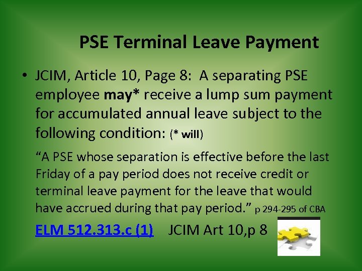 PSE Terminal Leave Payment • JCIM, Article 10, Page 8: A separating PSE employee