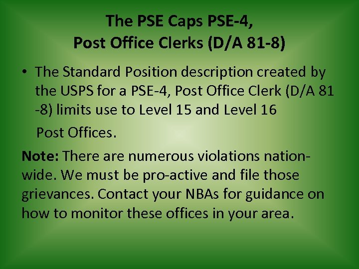 The PSE Caps PSE-4, Post Office Clerks (D/A 81 -8) • The Standard Position