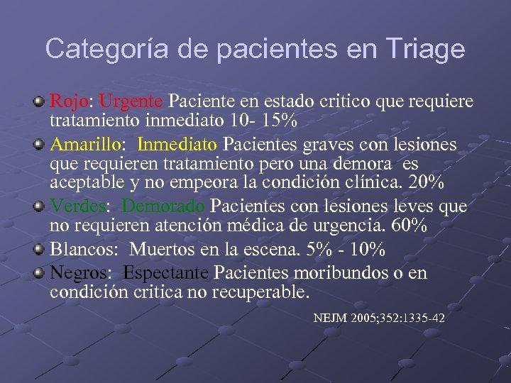 Categoría de pacientes en Triage Rojo: Urgente Paciente en estado critico que requiere tratamiento
