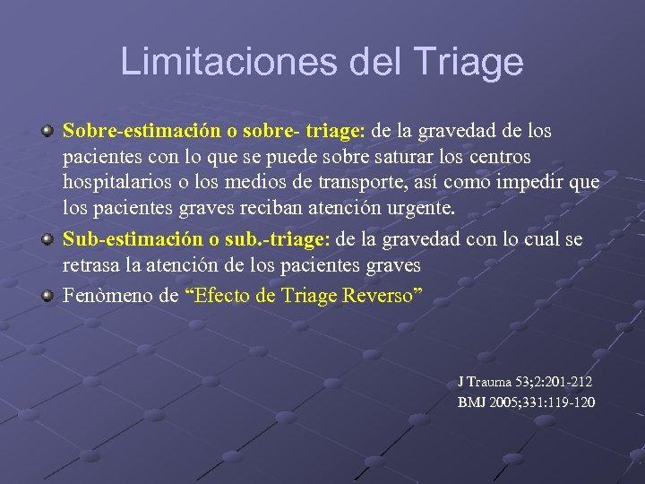 Limitaciones del Triage Sobre-estimación o sobre- triage: de la gravedad de los pacientes con