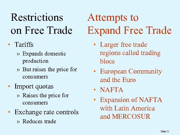 Restrictions on Free Trade • Tariffs » Expands domestic production » But raises the