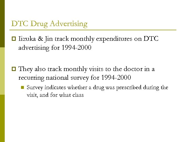 DTC Drug Advertising p Iizuka & Jin track monthly expenditures on DTC advertising for