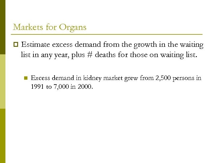 Markets for Organs p Estimate excess demand from the growth in the waiting list