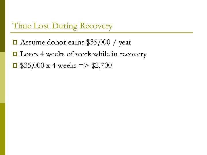 Time Lost During Recovery Assume donor earns $35, 000 / year p Loses 4