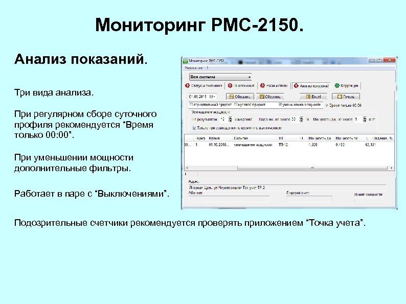 """Мониторинг РМС-2150. Анализ показаний. Три вида анализа. При регулярном сборе суточного профиля рекомендуется """"Время"""