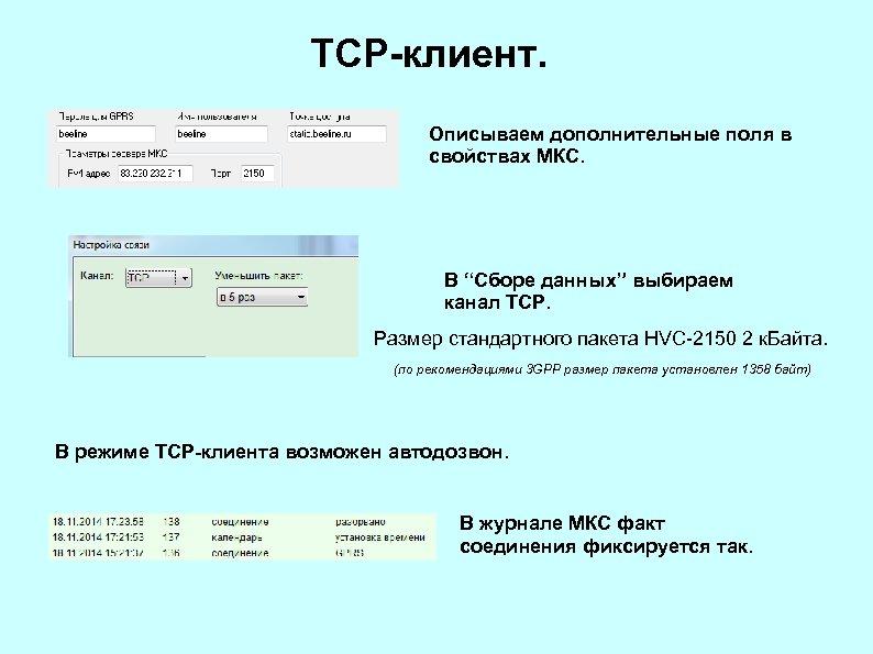 """TCP-клиент. Описываем дополнительные поля в свойствах МКС. В """"Сборе данных"""" выбираем канал TCP. Размер"""