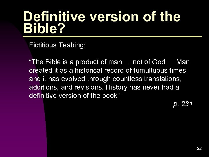 """Definitive version of the Bible? Fictitious Teabing: """"The Bible is a product of man"""