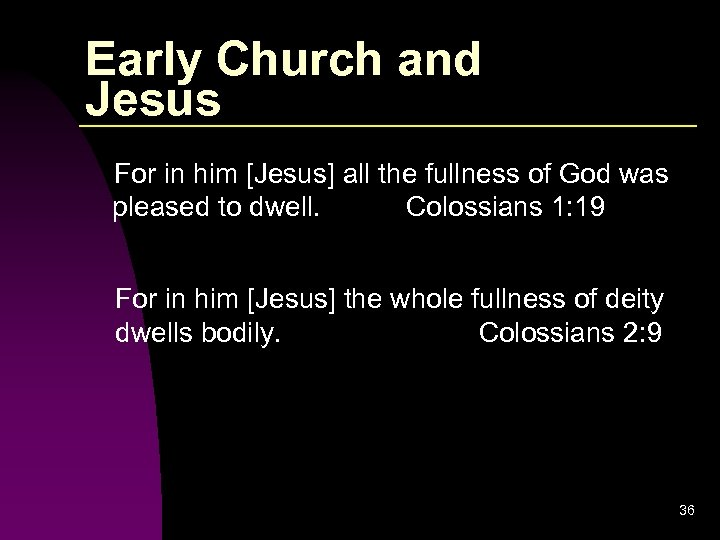 Early Church and Jesus For in him [Jesus] all the fullness of God was