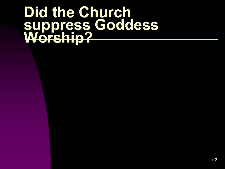 Did the Church suppress Goddess Worship? 62