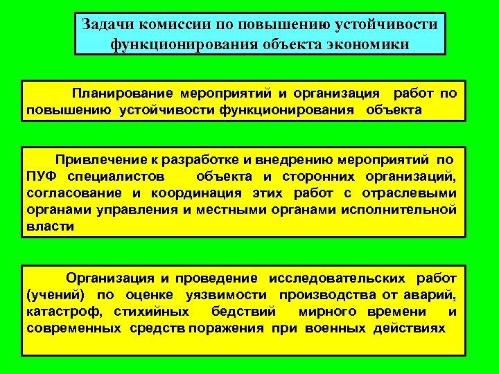 Задачи комиссии по повышению устойчивости функционирования объекта экономики Планирование мероприятий и организация работ по