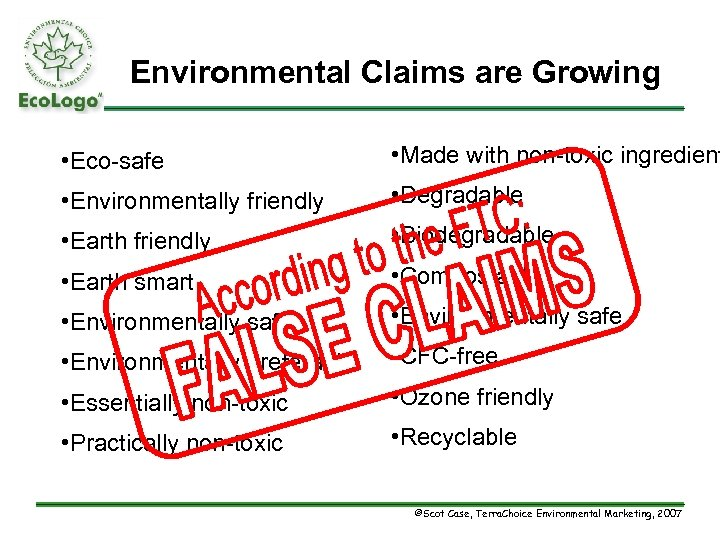 Environmental Claims are Growing • Eco-safe • Made with non-toxic ingredient • Environmentally friendly