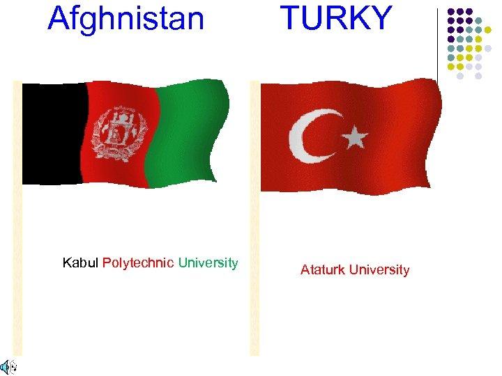 Afghnistan TURKY Kabul Polytechnic University Ataturk University