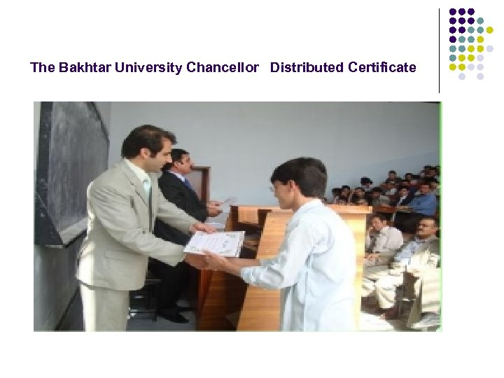 The Bakhtar University Chancellor Distributed Certificate