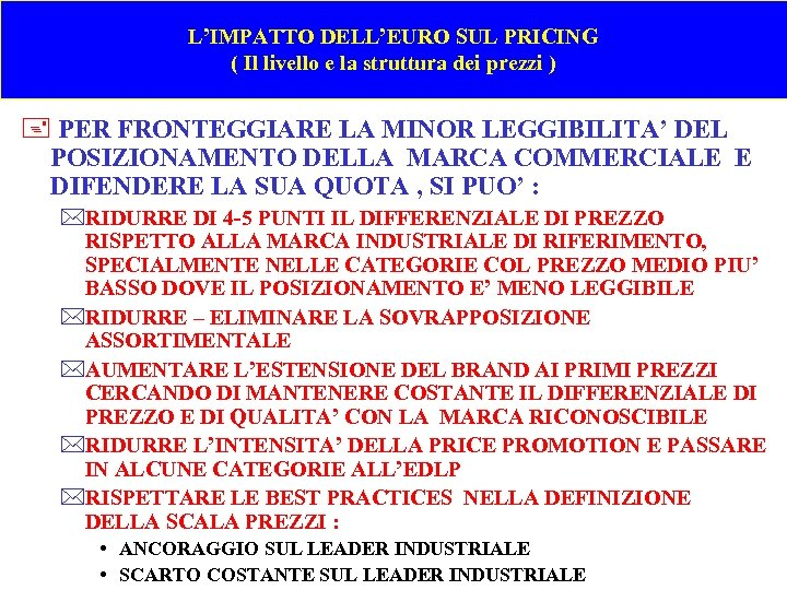 L'IMPATTO DELL'EURO SUL PRICING ( Il livello e la struttura dei prezzi ) +