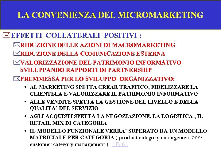 LA CONVENIENZA DEL MICROMARKETING +EFFETTI COLLATERALI POSITIVI : *RIDUZIONE DELLE AZIONI DI MACROMARKETING *RIDUZIONE