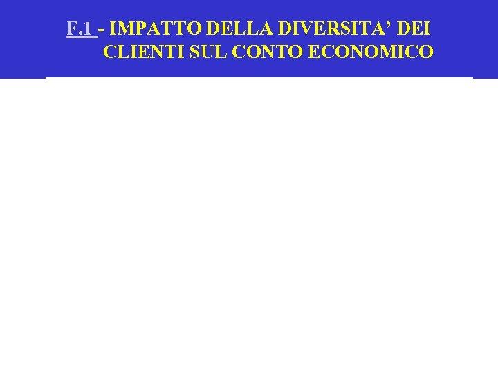 F. 1 - IMPATTO DELLA DIVERSITA' DEI CLIENTI SUL CONTO ECONOMICO
