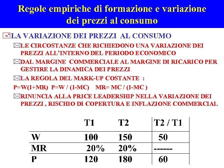 Regole empiriche di formazione e variazione dei prezzi al consumo +LA VARIAZIONE DEI PREZZI