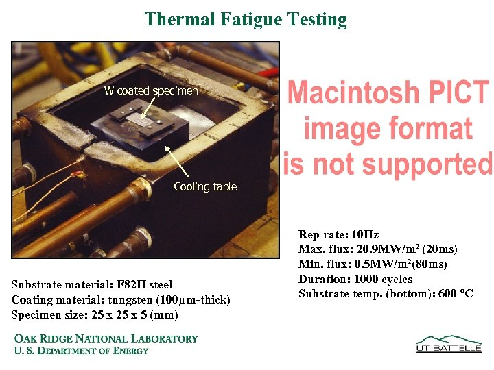 Thermal Fatigue Testing W coated specimen Cooling table Substrate material: F 82 H steel