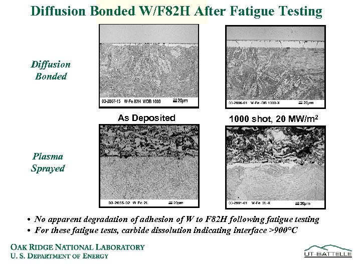 Diffusion Bonded W/F 82 H After Fatigue Testing Diffusion Bonded As Deposited 1000 shot,