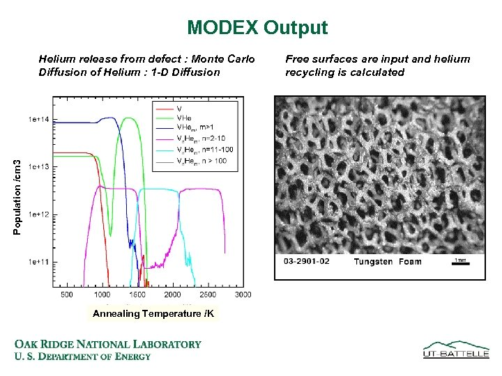 MODEX Output Population /cm 3 Helium release from defect : Monte Carlo Diffusion of