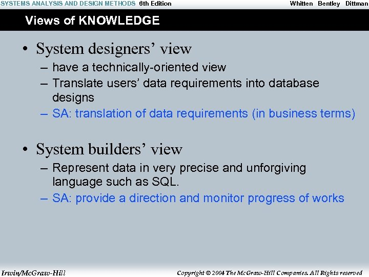 SYSTEMS ANALYSIS AND DESIGN METHODS 6 th Edition Whitten Bentley Dittman Views of KNOWLEDGE
