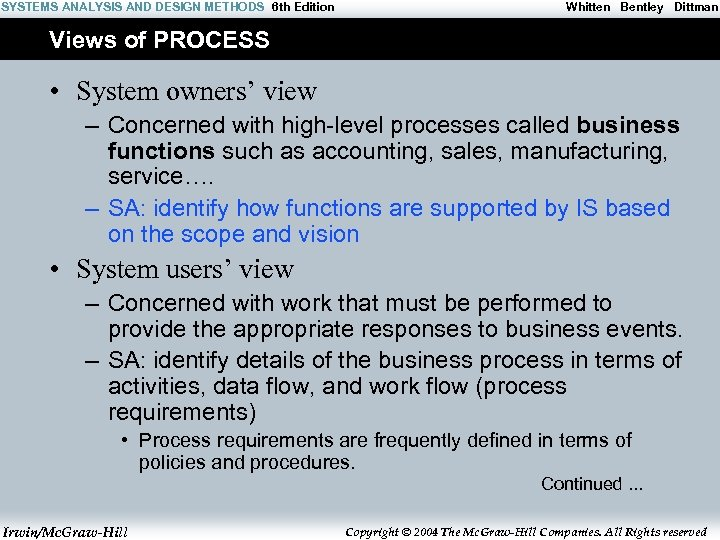 SYSTEMS ANALYSIS AND DESIGN METHODS 6 th Edition Whitten Bentley Dittman Views of PROCESS