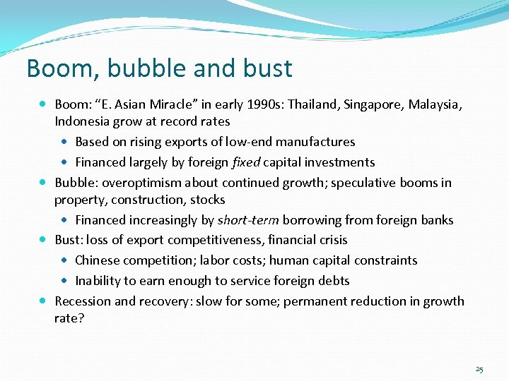"Boom, bubble and bust Boom: ""E. Asian Miracle"" in early 1990 s: Thailand, Singapore,"