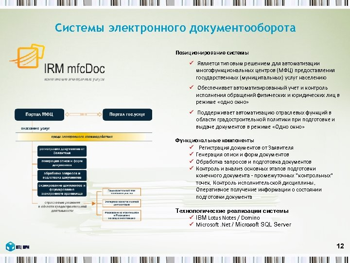 Системы электронного документооборота Позиционирование системы ü Является типовым решением для автоматизации многофункциональных центров (МФЦ)
