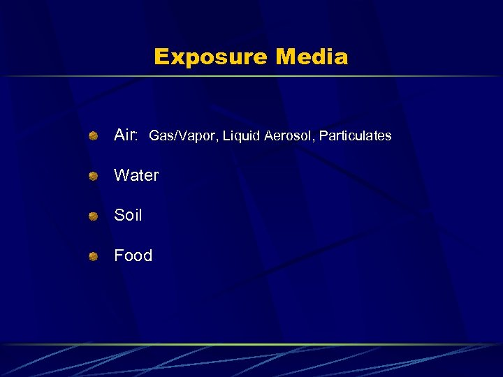 Exposure Media Air: Gas/Vapor, Liquid Aerosol, Particulates Water Soil Food
