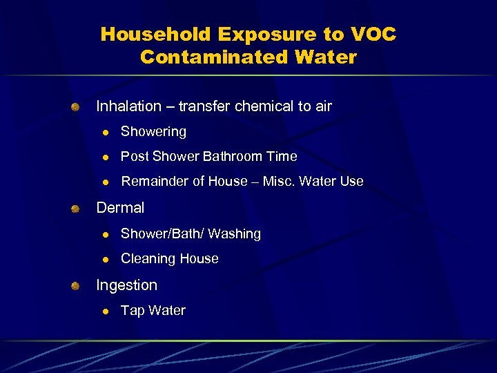 Household Exposure to VOC Contaminated Water Inhalation – transfer chemical to air l Showering