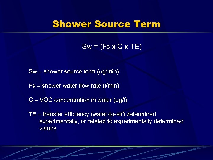 Shower Source Term Sw = (Fs x C x TE) Sw – shower source