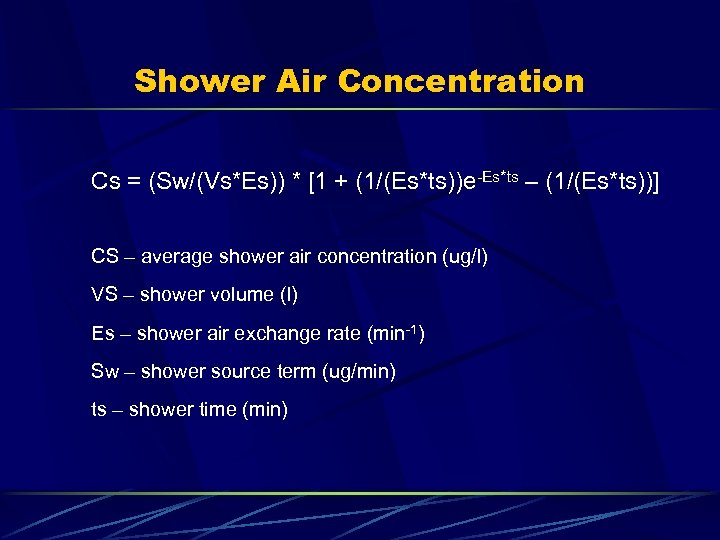 Shower Air Concentration Cs = (Sw/(Vs*Es)) * [1 + (1/(Es*ts))e-Es*ts – (1/(Es*ts))] CS –