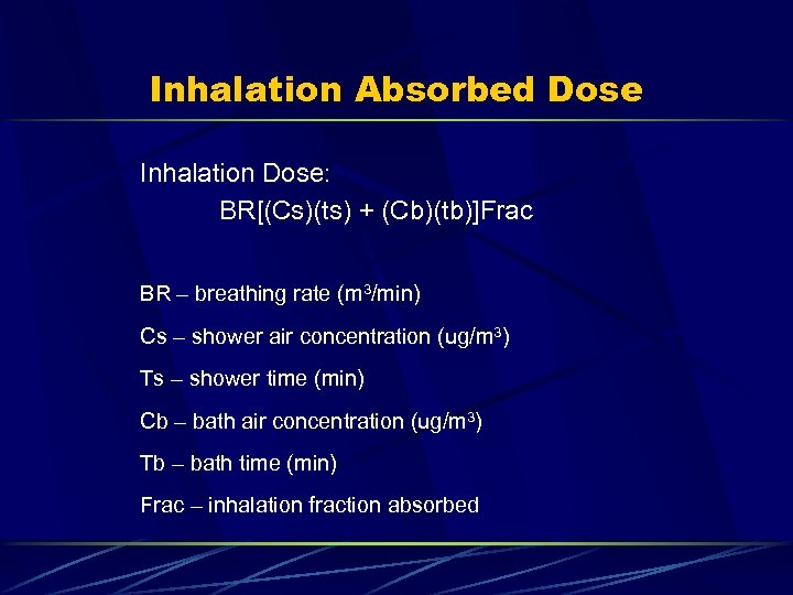 Inhalation Absorbed Dose Inhalation Dose: BR[(Cs)(ts) + (Cb)(tb)]Frac BR – breathing rate (m 3/min)