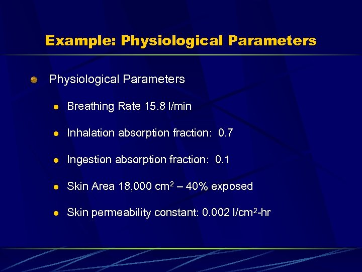 Example: Physiological Parameters l Breathing Rate 15. 8 l/min l Inhalation absorption fraction: 0.